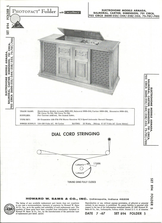 SAMS Photofact - Set 894 - Folder 5 - Jul 1967 - ELECTROHOME MODELS ARMADA, BALMORAL