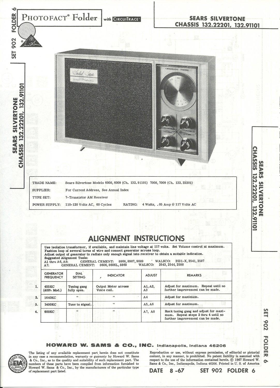 SAMS Photofact - Set 902 - Folder 6 - Aug 1967 - SEARS SILVERTONE CHASSIS 132.22201, 132.91101