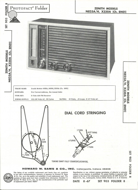 SAMS Photofact - Set 903 - Folder 8 - Aug 1967 - ZENITH MODELS N825A/H, X330A (Ch.8N01)