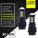 2PCS 3157 3156 High Power 6000K White 30SMD 3030 LED Backup Reverse Light Bulbs