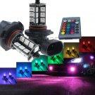 2 X RGB 9005 5050 27-SMD Car LED Fog Driving Light Bulbs w/ Remote Control Kit