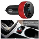 DC 5V 3.1A Dual USB Car Charger Adapter Voltage Tester for iPhone Samsung Red
