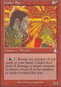 Magic the Gathering Card - Cinder Seer (Urza's Destiny)