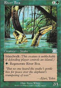 Magic the Gathering Card - River Boa (6th Edition)