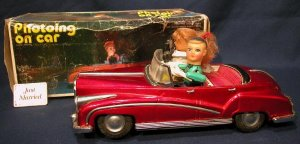 Vintage Battery Operated Tin Toy Car