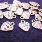 15pc antique silver finish metal made with love heart charm-1060