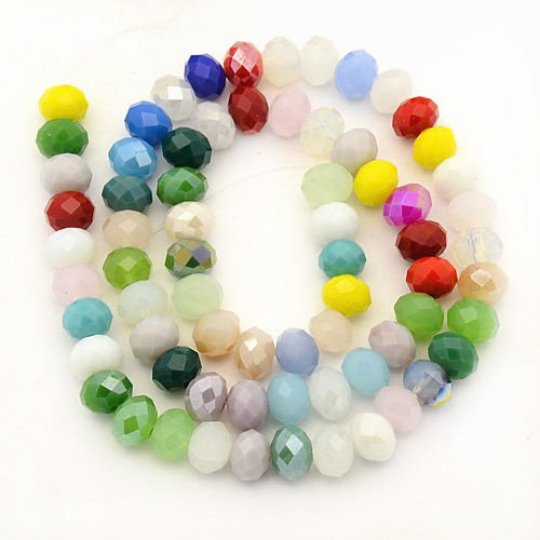1 strand 8X6mm Electroplate Pearl Luster Plated Imitation Jade Glass Beads-7500c