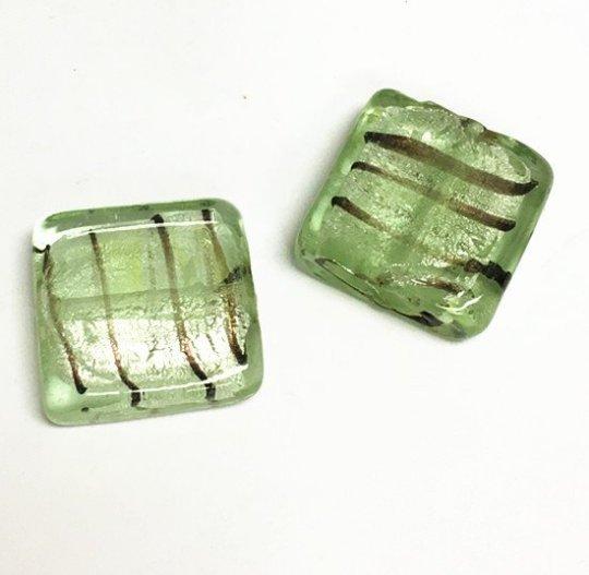 8pcs 20mm green flat square lampwork glass beads-7540G