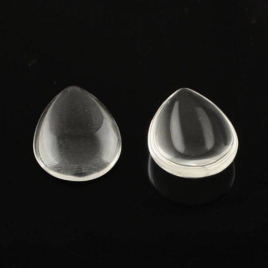 12pc 14x10mm translucent teardrop shape glass cabochon-7085b