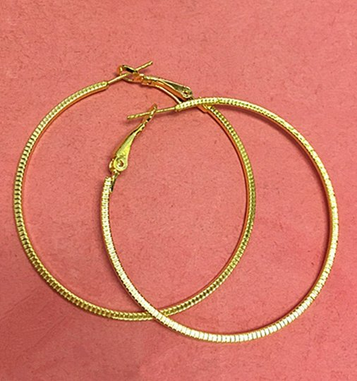 6pc(3pairs) gold finish 47mm hoop earrings-7245