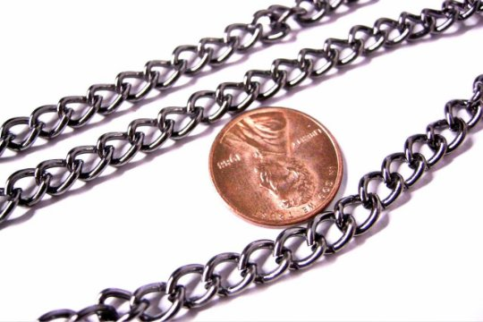 5 feet 7x5.5mm gunmetal finish unsoldered twisted chain-3256