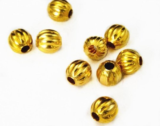 50pc 6mm gold finish Corrugated Beads-1579A