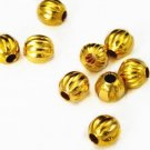 50pc 6mm gold finish Corrugated Beads-1579A