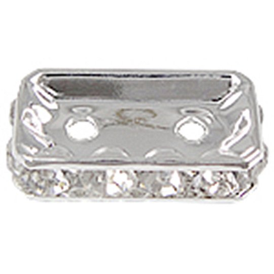 10pc silver finish metal rhinestone spacers-5902H