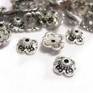Sale-100 pc antique silver acrylic bead caps-1573