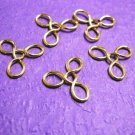10pc gold finish flower shape wired beads-2279