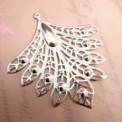 4pc dull silver finish 80x74mm filigree peacock pendants-8604