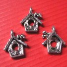 6pc antique silver metal bird house pendant-5425