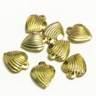 15pc 15x13mm gold finish heart shape charms/pendants-10765