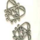 6pc 32mm heart shape antique silver finish chandelier connectors-9770