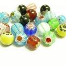 20pc 8mm glass mix millefiori round beads-435A