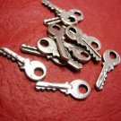 12pc 19mm antique silver finish metal alloy key pendant-3501