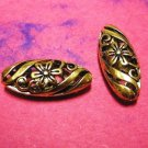 2pc antique gold finish hollow  metal oval fancy bead-1961
