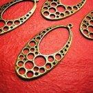 4pc antique bronze finish oval shape metal alloy pendant-3325
