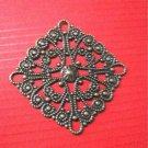 6pc 28.5mm antique bronze metal filigree center piece/wraps-5254