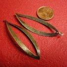 6pc antique bronze leaf shape lead and nickel free pendant-485