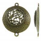 6pc 35x29mm antique bronze finish round metal connector/pendants-8473