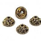 20pc antique gold finish 9.5mm metal bead caps-S35