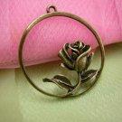 4pc antique bronze metal round flower pendant-2433