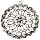 1pc 58x54mm antique silver finish metal flower pendant-7790e