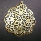 6pc 58x48mm gold finish filigree iron pendants-1974