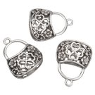 4pc 25x19mm antique silver finish hollow handbag pendants-7958J