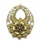 4pc Antique Bronze 6.7x4.6cm Flower Oval Pendants Embellishments Finding-5611