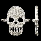 4pc 23mm silver finish skull with rhinestones connectors-7956T