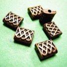 6pc antique copper finish metal fancy rectangle shape bead-3504