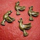 6pc antique bronze finish metal bird pendant-1680G