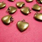 12pc antique bronze finish metal lead nickel free heart charm-2141