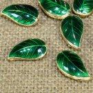 2pc 18x10mm green color Cloisonne leaf shape beads-6013E