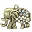 2pc 5.2x4.3cm antique bronze finish large elephant pendants with rhinestones-7937