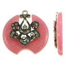 1pc 55x54mm zinc alloy with rhinestone and resin pendant-fr41