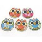 4pc mix color 19x18mm owl metal pendants-9014