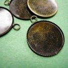 6pc 21mm Antique Bronze Round Gemstones Cameo Or Cab Victorian Pendant Setting-3245