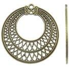 2pc 50x48mm antique bronze finish metal round pendants-9090