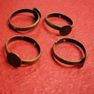 6 pc antique bronze ring shanks with 8mm pad-554