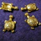 6pc antique gold finish lead free metal turtle pendant-1847