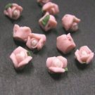12pc pink Porcelain Small Flower beads-3872